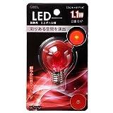 ボール電球形 E17 赤 1.1W 58mm OHM LDG1R-H-E17 13C 06-3238