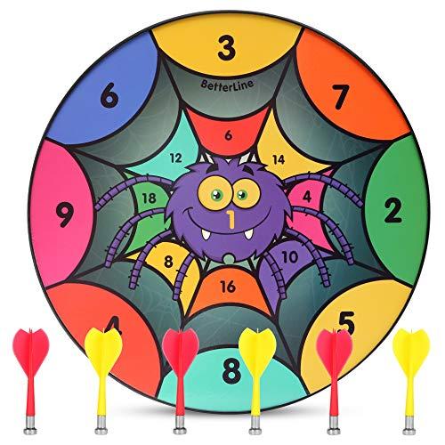 BETTERLINE Divertido Juego de Diana magnética, 16 Pulgadas, con 6 Dardos magnéticos para niños, Regalo para Sala de Juegos, carnavales y Fiestas, 16', Araña