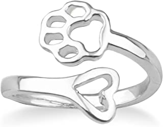 WUSUANED Hollow Cat Dog Paw Print On My Love Heart Open Adjustable Ring Pet Memorial Gift for Lover Owner