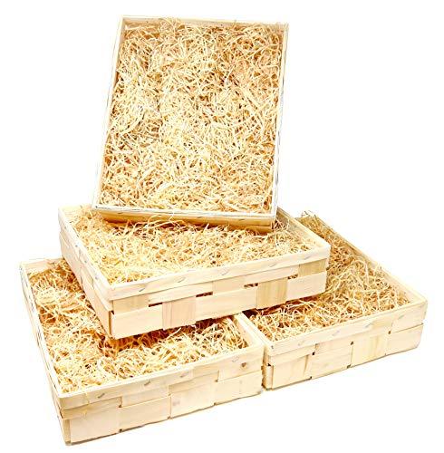 Lashuma 4er Korb Set Offene Obst - Gemüse Holzkiste, Geschenkkorb Wein für 3 Flaschen extra Holzwolle 35 x 28 cm
