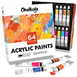Acrylic Paint Set (64 Colors, 22 ml Tubes, 0.74 oz.) for Canvas, Crafts, Wood Painting - Rich Pigment, Non Fading,...