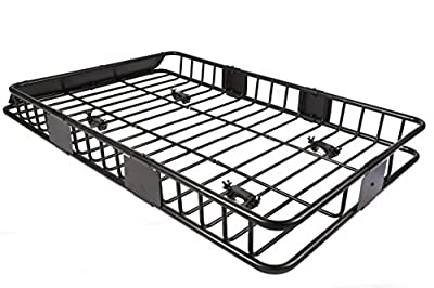 """EGO BIKE 64"""" Universal Black Roof Rack Cargo with Extension Car Top Luggage Holder Carrier Basket Travel SUV"""