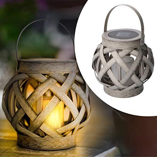 proventa® Dekorative LED Solar Leuchte in Rattan Optik, 1 Stück, inkl. LED Kerze, mit Flammeneffekt, Höhe 15,5 cm, für Außen, IP44