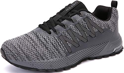 SOLLOMENSI Zapatillas de Deporte Hombres Mujer Running Zapatos para Correr Gimnasio Sneakers Deportivas Padel Transpirables Casual Montaña 42 EU H Gris