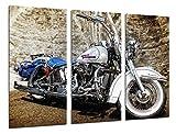Cuadro Camara Fotográfico Moto Harley Davidson, Moto Vintage Tamaño total: 97 x 62 cm XXL, Multicolor