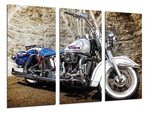 Quadro su Legno, Moto Harley Davidson, Moto d'Epoca, 97 x 62cm, Stampa in qualita Fotografica. Ref. 26494