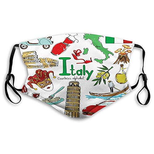 Italien, Spaß Bunte Skizze Kunstwerk Italien Länder Alphabet Wahrzeichen Esskultur, mehrfarbiger Perfekter Gesichtsschutz zum Laufen Skifahren Snowboarden,20x15cm
