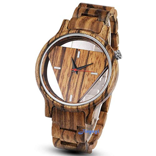 Bamboo Wooden Watches for Men Lightweight Triangle Wood Watch Man Quartz Minimalist Wristwatches Gifts Box