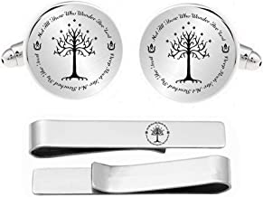 Kooer Personalized Engraved White Tree Cuff Links Tie Clip Set Engrave Tree of Life Cufflinks Wedding Jewelry Gift for Him Men Father Husband Boy Friend Groom