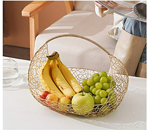 SWECOMZE Fruit basket made of iron wire, fruit bowls metal basket decorative bowl, fruit and vegetable storage basket gold bowl decorative fruit bowl table decoration (gold, large)