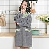 Driverder Gran Cocina de Delantal Anti-Aceite de Manga Larga Simple con 2 Bolsillos Delantales de Cocina para el hogar (Verde Claro + Negro)