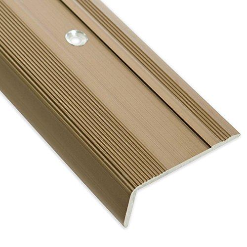 Treppenkantenprofil Glory | bronze hell | L-Form | inklusive rutschhemmender Vinyl-Einlage | 17mm Höhe | Erhältlich in 4 Farben und 3 Längen (134cm)