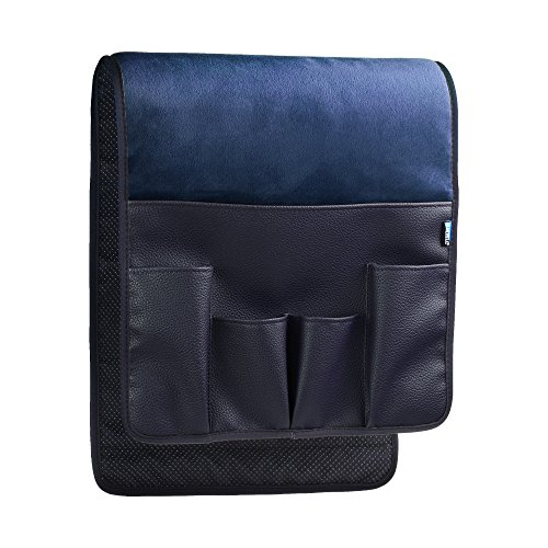 BCP Dark Blue Color Velvet Sofa Couch Chair Armrest Soft Caddy Organizer Holder for Remote Control, Cell Phone, Book, Pencil