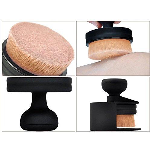 Contever® rond plat Fond de teint Brosse de Maquillage Poudre Brosse Noir