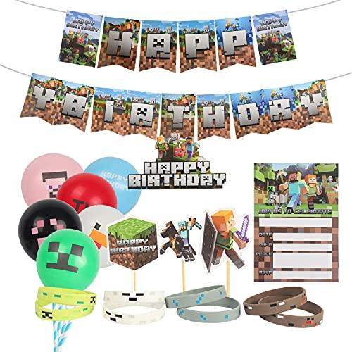 76 piezas Minecraft suministros de fiesta de cumpleaños para niños, incluye 1 pancarta, 24 globos, 24 decoraciones para cupcakes, 1 decoración de magdalenas, 8 pulseras, 15 tarjetas, 1 bobina