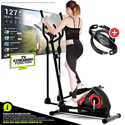 Sportstech CX608 crosstrainer - Duits kwaliteitsmerk - video events & multiplayer app & console Bluetooth compatible, gratis borstband/polsslagmeter, ellipsentrainer, tablethouder-ergometer, hometrainer