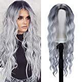 30 inch Long Wavy Wigs for Women Middle Part Curly Wave Hair Wig Dark Roots Grey Body Wave Wigs Natural Looking Heat Resistant Synthetic Full Wigs for Daily Party Cosplay Costumes(30',1B/Grey)