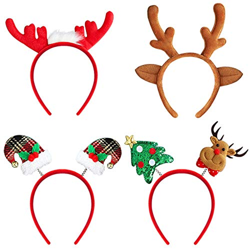4 Pack Christmas Headbands, Christmas Costume Headbands for Women Men Child Christmas Holiday Party, Reindeer Antlers, Santa Hat, Deer and Christmas Tree Headband