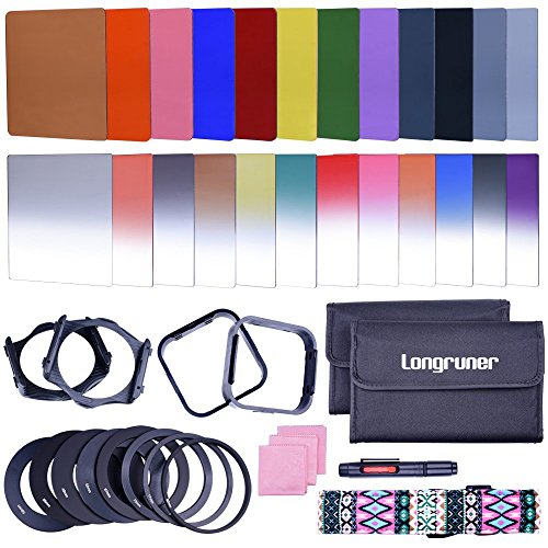 Longruner Complete 24 Pieces Square Filter Sets Filters Kit Compatible with Cokin P Series Bundle with Filter Holder Adaptor Ring Lens Hood Cleaner Strap for DSLR Cameras