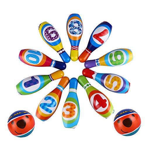 VICASKY Juego de Juguetes de Bolos para Niños con Números Juegos Familiares Divertidos en El Interior 10 Bolos 2 Bolas Juguetes Educativos Juegos Deportivos para Niños Bebés Niños