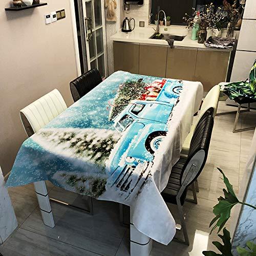 SHANGZHAI Weihnachtstischdecke, wasserdicht, öl- und schmutzabweisend, rechteckige Tischdecke mit Polyesteraufdruck, Tischdecke, Kaffeetischdecke ZB2076-12 140x160cm