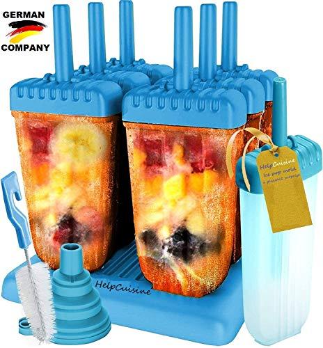 HelpCuisine® Stampi ghiaccioli - Stampi per Gelati Realizzati in plastica di Alta qualità priva di BPA e Approvata dalla FDA, Ideale per la Preparazione di ghiaccioli, Gelati, sorbetti,(Blu)