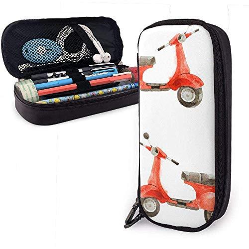 Aquarell nahtlose Muster mit Roller niedlichen Stift Federmäppchen Leder große Kapazität Doppelreißverschlüsse Bleistift Tasche 20 * 9 * 4cm