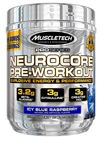 Pre Workout + Muscle Builder | MuscleTech Neurocore Preworkout | Creatine HCl + L Citrulline + Yohimbine + Beta Alanine + Caffeine | Pre-Workout Powder for Men & Women | Blue Raspberry (33 Servings)
