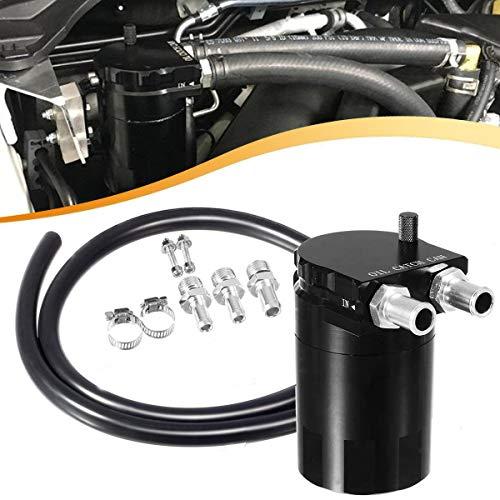 Vincos Black Polish Baffled Universal Aluminum Oil Catch Can Dual Cylinder Polish Baffled Engine Air Oil Separator Tank Reservoir Kit 3/8' 9/16' 400ml