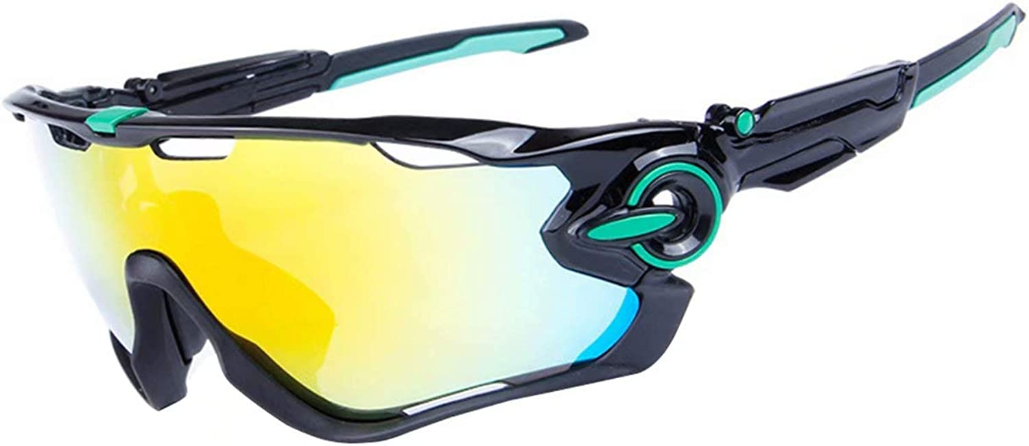 Fankeshi Polarized Sports Riding Mirror Running Sunglasses with 5 Interchangeable Lenses