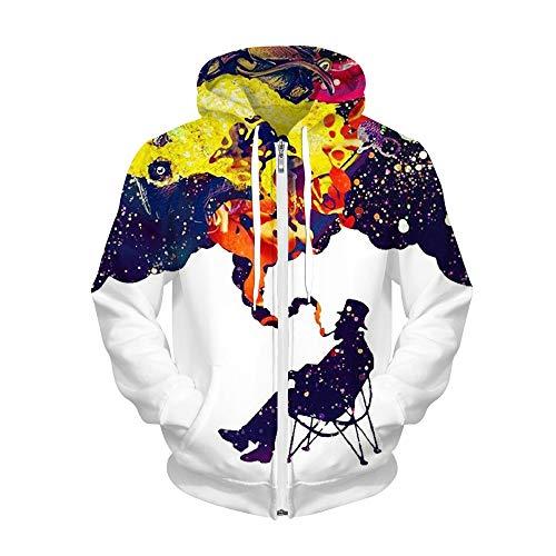 LUOYLYM Langärmliges Hemd Jacke Digitaldruck Mit Kapuze Reißverschluss Paar Pullover Herbst Und Winter Neue Freizeitjacke Bll009 S/M