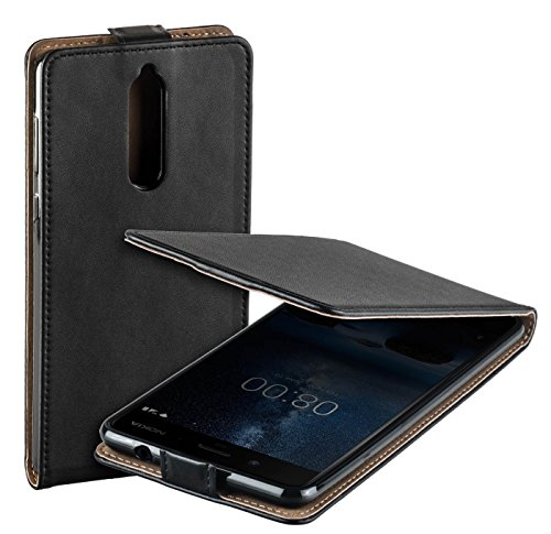 Cover Nokia 8, Yayago Eco Custodia verticale Flip per Nokia 8, nero
