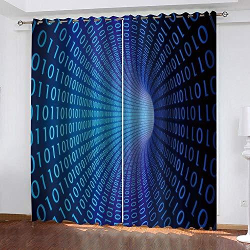 Aceeaceo 3D Vorhänge Kreativer Blauer Digitaler Tunnel 150 (B) X 166 (H) Cmvorhang Blickdicht Polyester Für Schlafzimmer Kinderzimmer Wohnzimmer Dekoration Super Soft Digital Printing Waterproof and