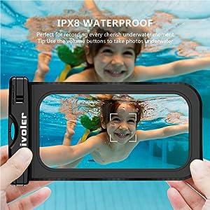 ivoler [IPX8 Certificado] [2 Unidades] Funda Bolsa Móvil Impermeable Universal para Xiaomi, iPhone, Samsung Galaxy, Huawei, Smartphones, Monedas, Pasaporte, etc. (Negro/Rosa)
