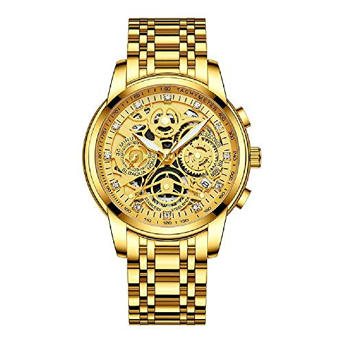 Ykop Men's Watches Chronograph Waterproof Analogue Quartz Watch Men's Designer Stainless Steel Wrist Watch Date Fashion Watches for Men Gold and White Noodles Between Steel Bands Steel belt, all gold.