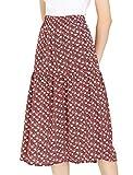 Allegra K Women's Vintage Skirts A-Line Elastic Waist Floral Flowy Midi Skirt X-Small Blush Red