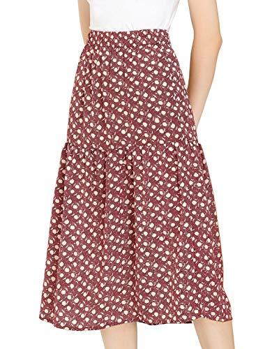 Allegra K Women's Vintage A-Line Elastic Waist Dots Floral Midi Skirt X-Small Blush Red