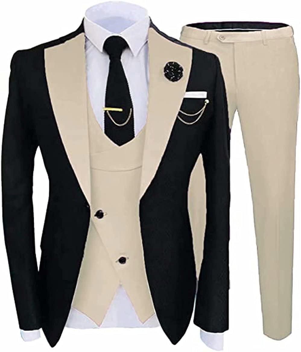 Mens Slim Fit Wedding Suit Prom Tuxedos 3 Piece Shawl Lapel Dress Blazer+Vest+Pants