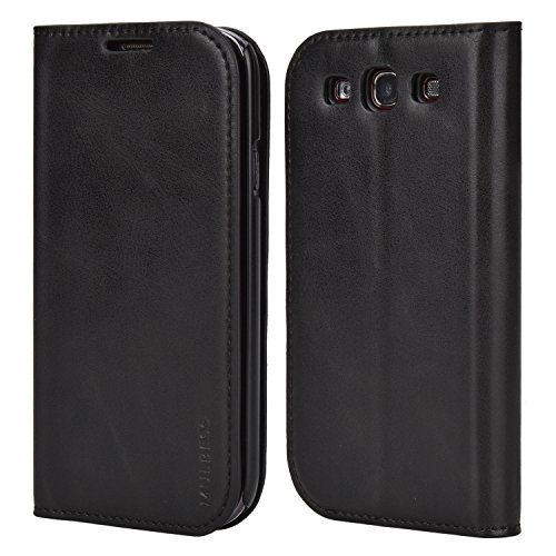 Mulbess Slim Samsung Galaxy S3 Case, Flip Leather Phone Cover with Card Holder for Samsung Galaxy S3 / S3 Neo, Black