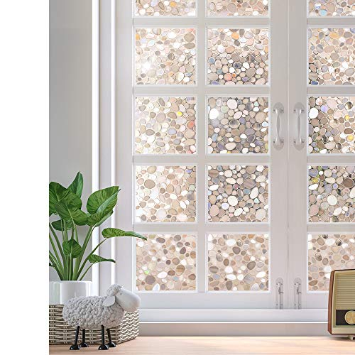rabbitgoo Glass Window Film, Decorative Window Stickers, Privacy Window Clings, Static Cling Door Window Covering, Stained Glass Window Vinyl, Non Adhesive, Anti UV Pebble Pattern, 17.5 x 78.7 inches