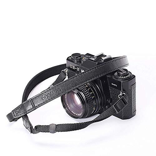 CANPIS CP008 - Correa de piel auténtica para cámara de fotos Canon Nikon, Leica, Fuji, Sony, sin espejo y cámaras réflex digitales, color negro