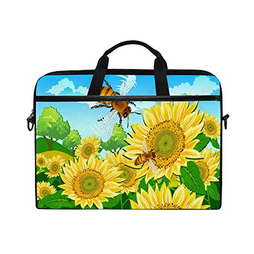 15-Inch Laptop Bag Bee and Sunflower Sky Canvas Shoulder Messenger Sleeve Case Tablet Briefcase