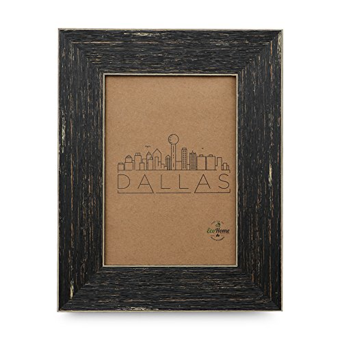 5x7 Picture Frame Barnwood Brown - Dark Reclaimed Wood Finish, Distressed, Mount or Desktop Display, Frames by EcoHome
