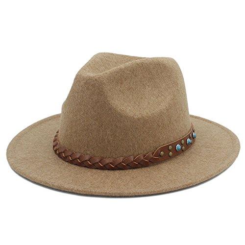 QiuKui Gorra de Vaquero y Sombrero de Copa, Chapeu Feminino Fedora Hat