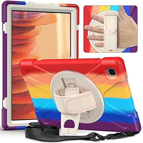 YGoal Funda para Galaxy Tab A7 10.4 - Multifuncional Carcasa con 360 Rotación Kickstand, Correa de Bandolera y Mano Híbrido Shockproof Cover para Samsung Galaxy Tab A7 T500 2020 (MRojo)