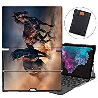 MAITTAO Microsoft Surface Pro 7 case, Folio Smart Stand Strap Case for Surface Pro 7 2019 / Pro LTE 12.3-inch Tablet Sleeve Bag 2 in 1, Compatible with Type Cover Keyboard, Akhal-Teke Horse 18