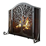 Fireplace Screens Fireplace Screen with Doors, Solid Wrought Iron Frame Plow & Hearth Fence with Metal Mesh, Freestanding Tree of Life Spark Guard, 96 X 19 X 76cm