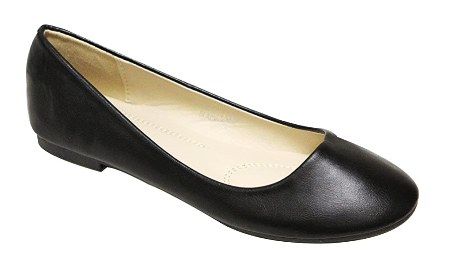 Bella Marie Stacy-13 Women's Round Toe Faux Leather Slip on Boat Ballet Flat Shoes