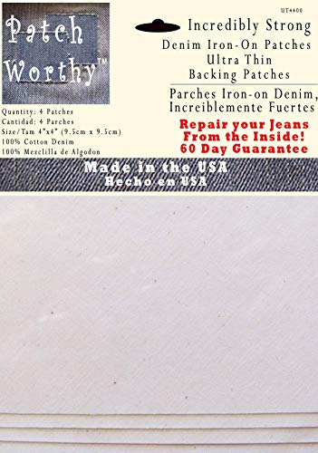 4 Ultra Thin Backing Patches - Super Strong Iron on Inside Patch - White