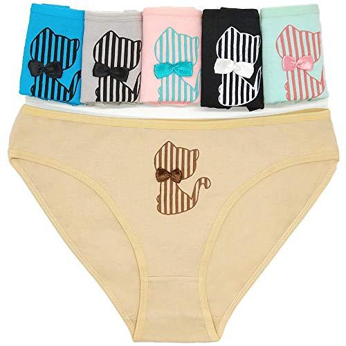 String voor dames, 6 stuks, schattige kat, bedrukt, ondergoed, katoen, ademend, comfortabel, eenvoudige stijl, jongens, dames, slips, XL, 6color